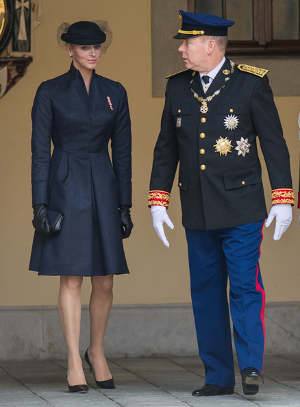 Prince Albert II of Monaco and Princess Charlene of Monaco attend the National Day Parade 2012. Charlotte Casiraghi