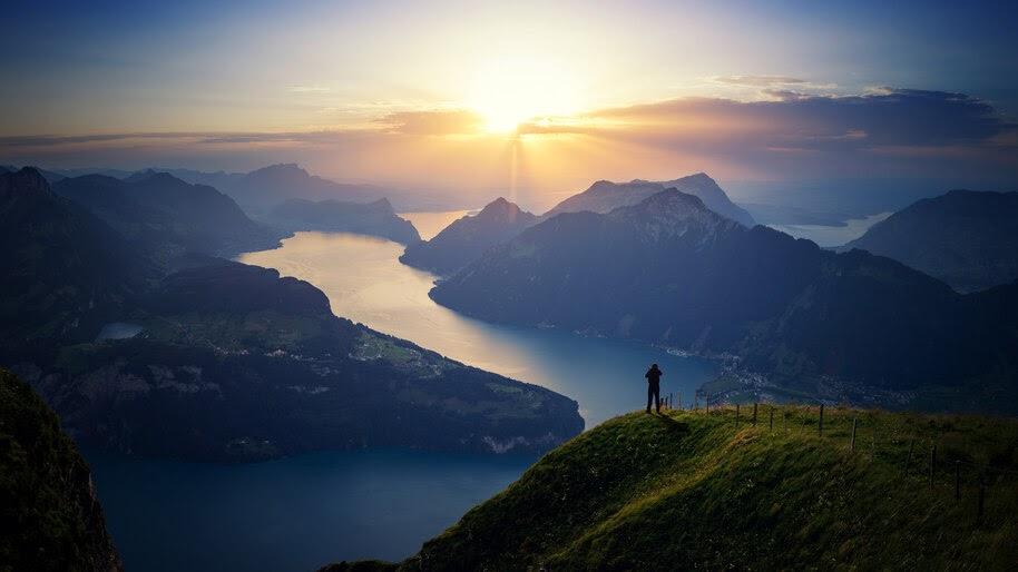 Mountains, Sunrise, Scenery, 4K, #4.2320
