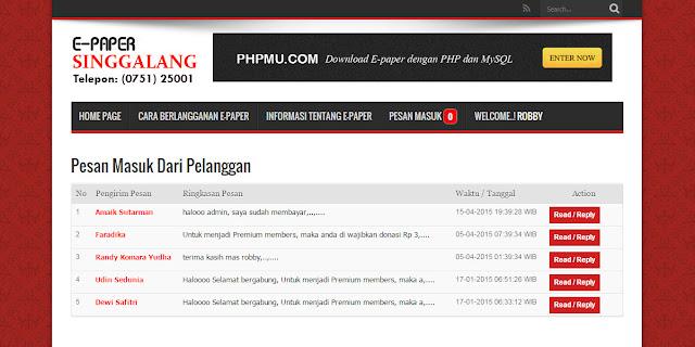 Aplikasi E-paper (Koran Digital) Full Fitur dengan PHP 7 dan MySQLi