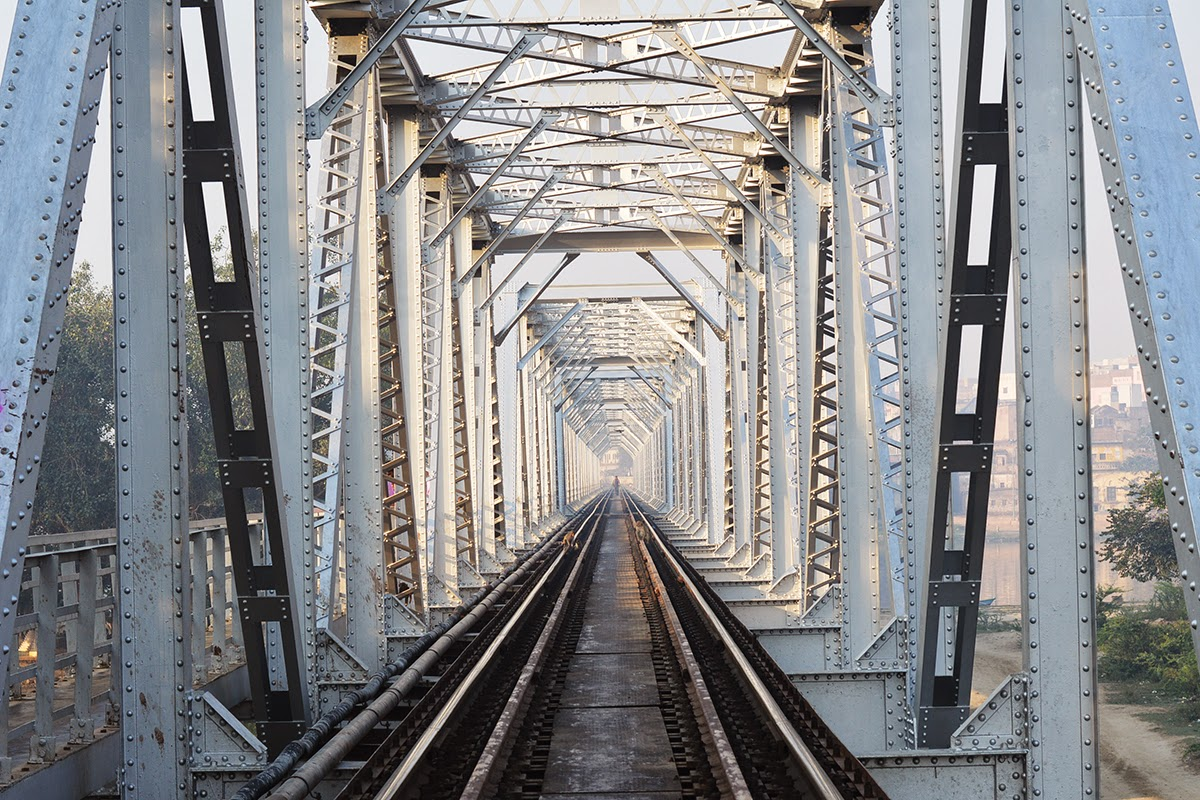 Metal Railway Bridge over mathura Yamuna India