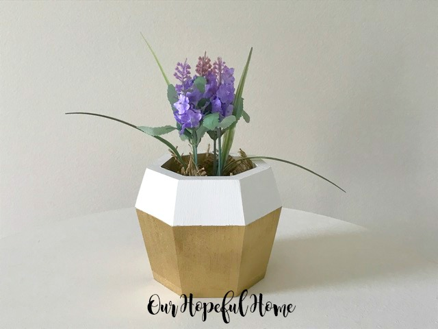 DIY gold white painted hexagonal wooden vase