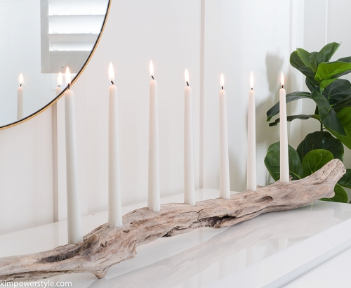 DIY Driftwood Log Candle Holder Idea Table Centerpiece