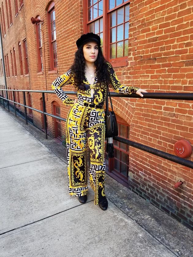 Lovelywholesale Scarf Print Jumpsuit