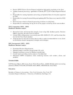 Healthcare Business Analyst CV Sample