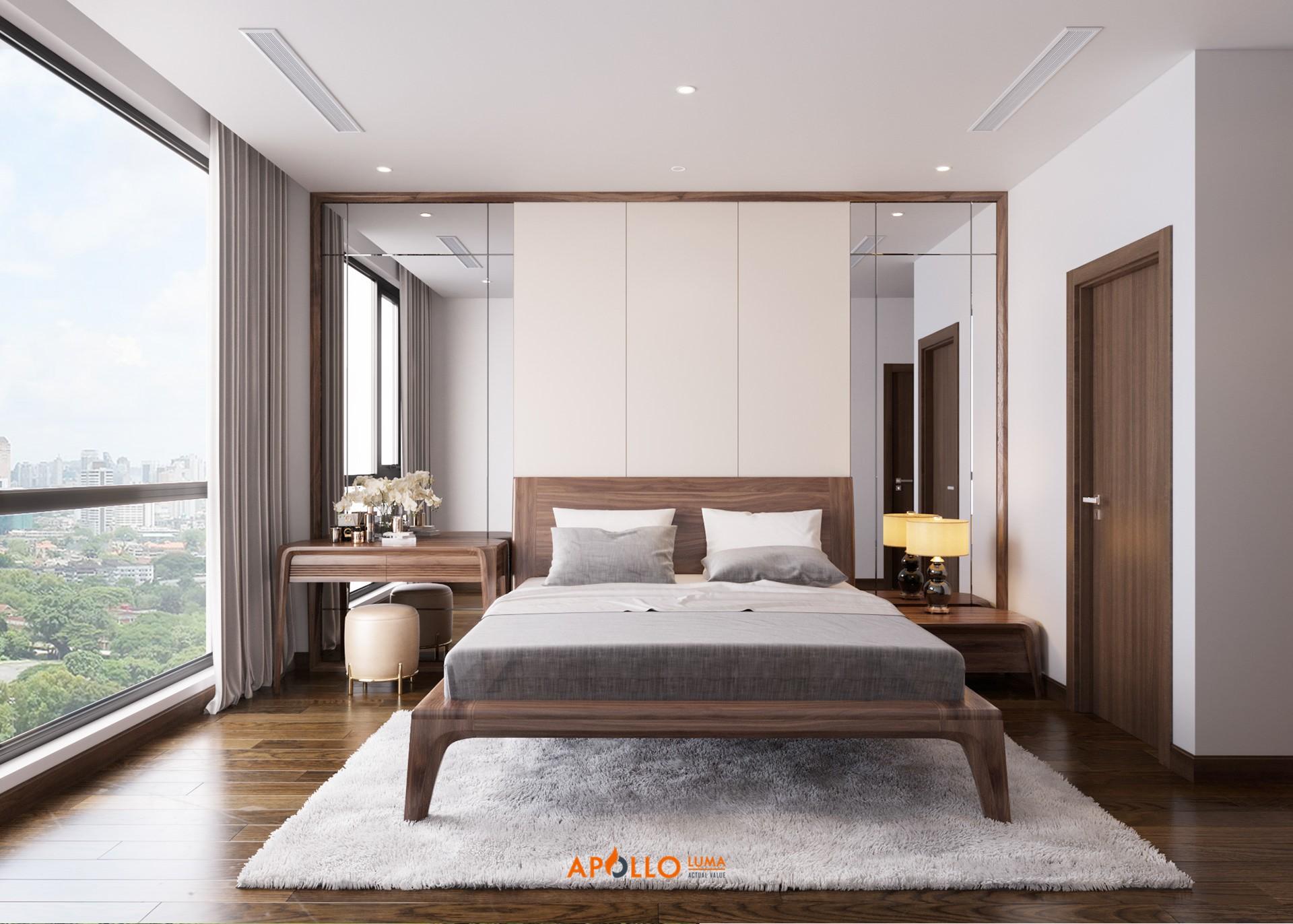 Thiết kế phòng ngủ Vinhomes West Point gỗ thịt sang trọng