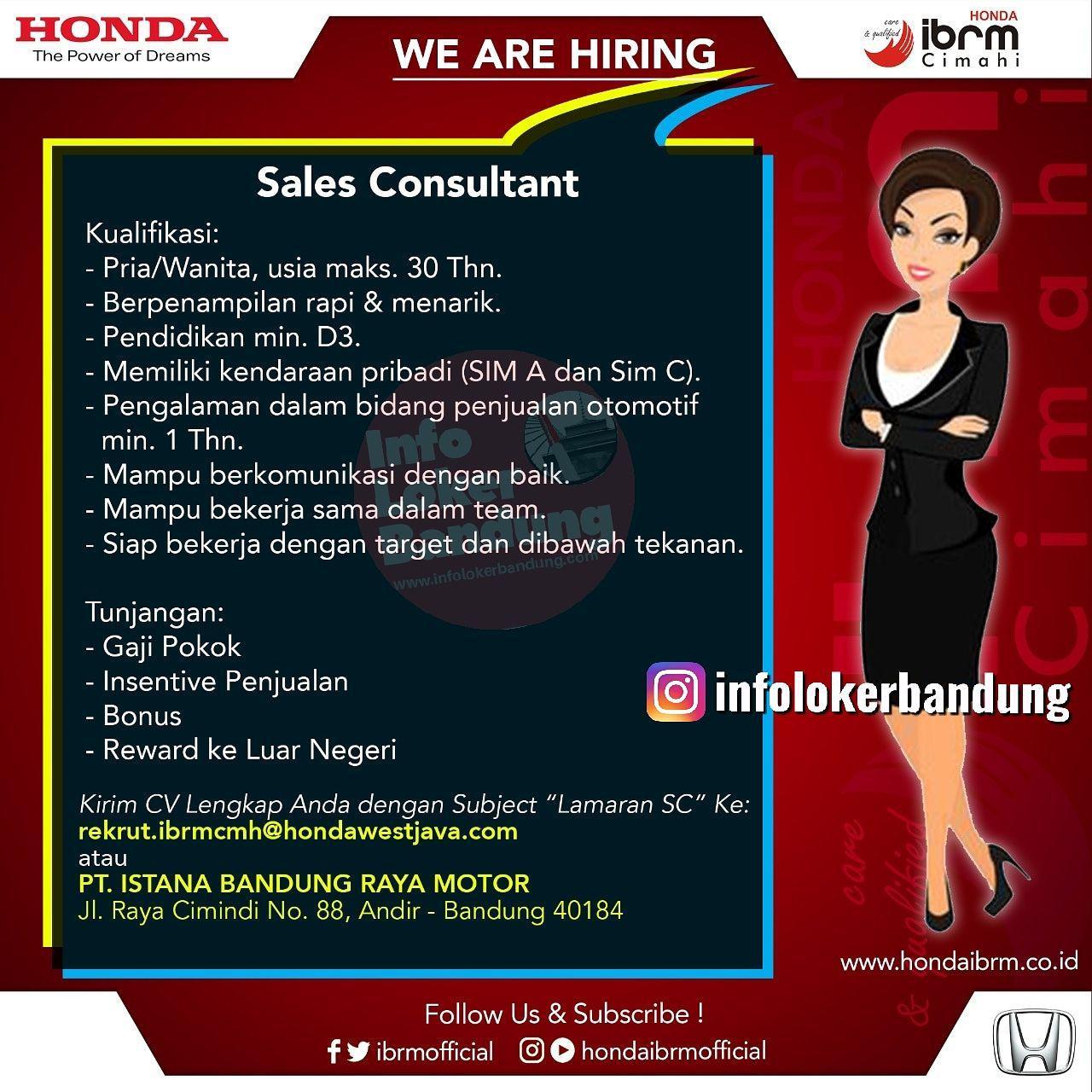 Lowongan Kerja Sales Consultant Honda IBRM Cimahi Juni 2019