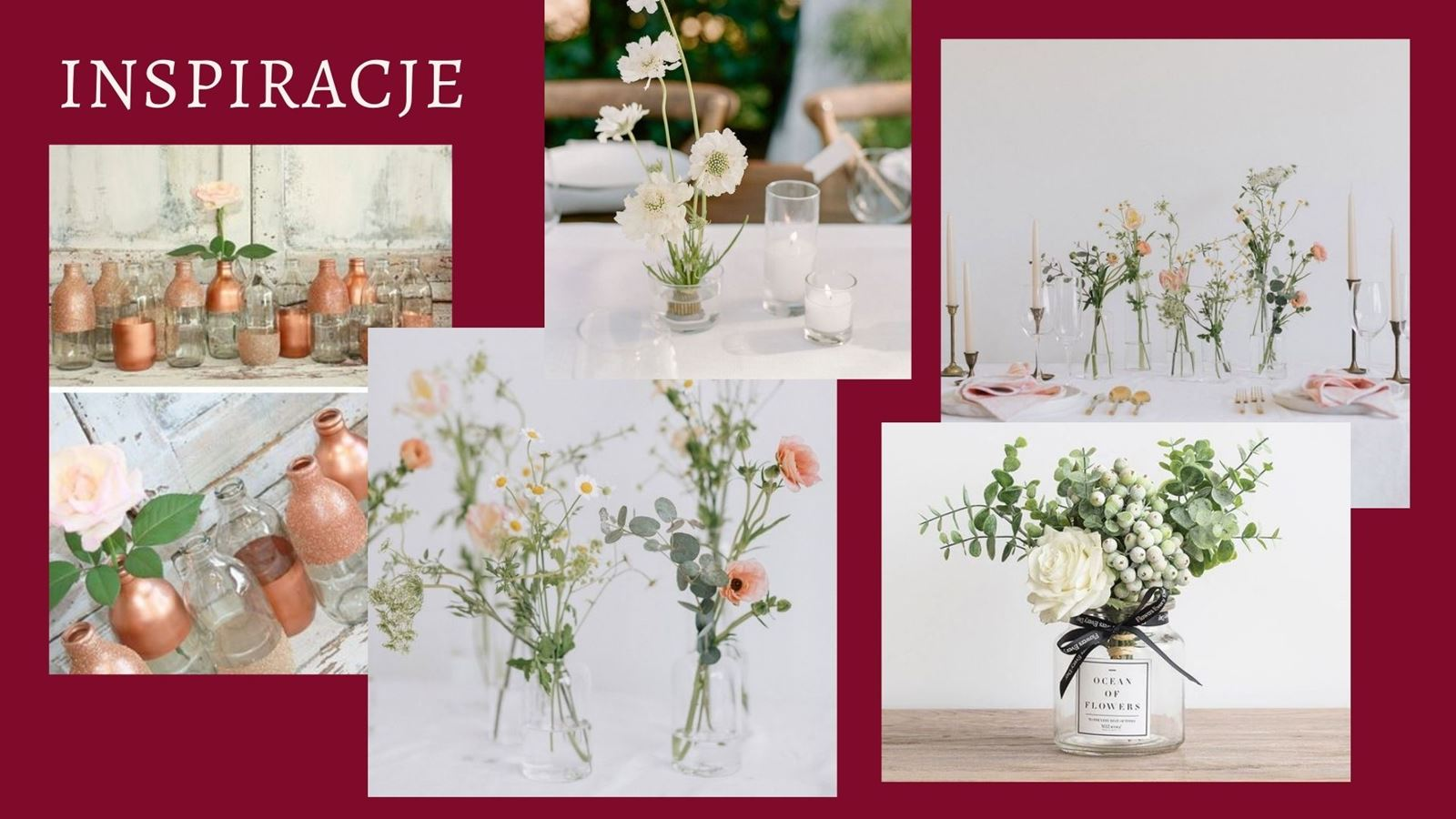 4 weselne diy wedding decoration ideas pomysły jak tanio udekorować zrobić samemu dekoracje na salę weselna na stol dla gosci co kupic male bukiety na stoly weselne dodatki tanie dekoracje na slub