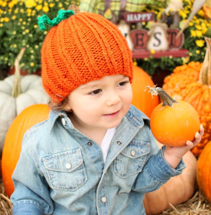 Toddler Pumpkin Hat [knitting pattern]