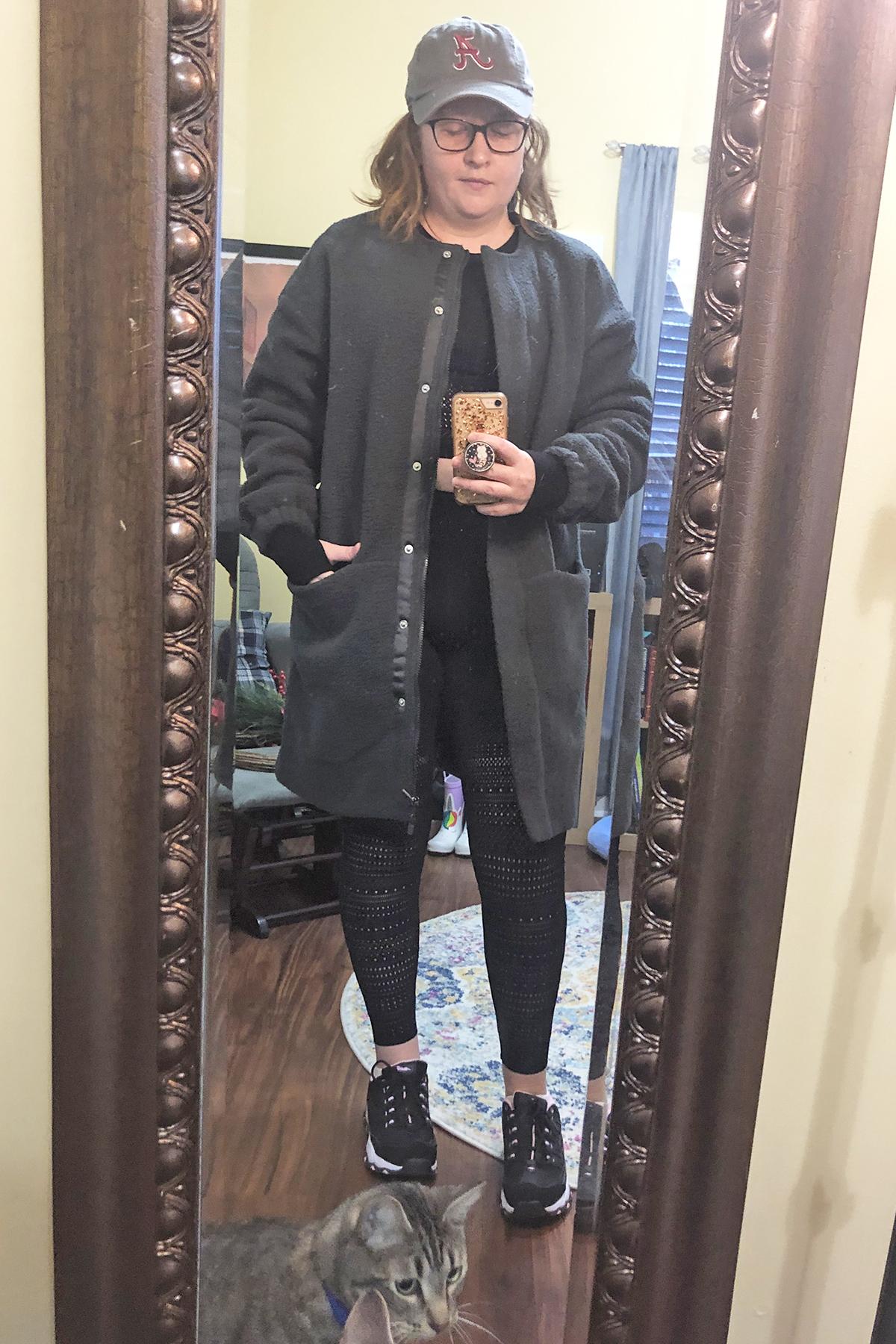 grey fleece coat