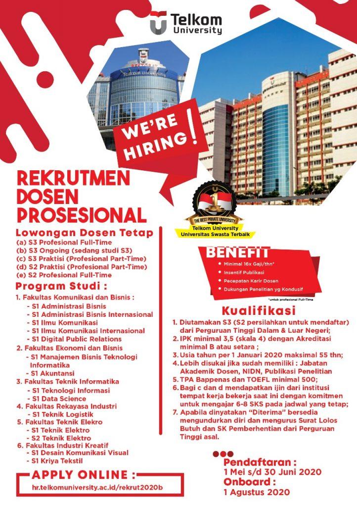 Lowongan Kerja Telkom University Bulan Mei 2020 Sebanyak 169 Kuota Rekrutmen Lowongan Kerja Bulan Februari 2021