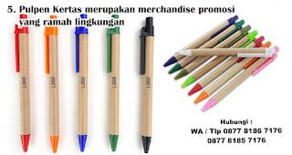 Pulpen Kertas merupakan merchandise promosi yang ramah lingkungan