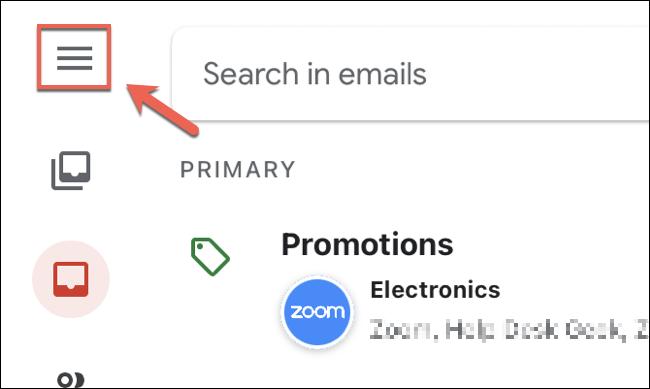 في تطبيق Gmail على أجهزة iPhone و iPad ، انقر فوق رمز قائمة الهامبرغر في أعلى اليسار.