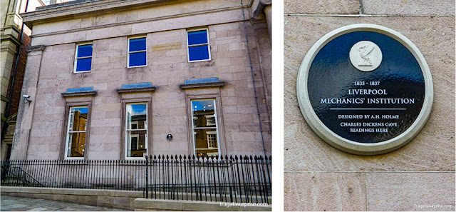 Placa registra a colaboração do escritor Charles Dickens com o Liverpool Institute