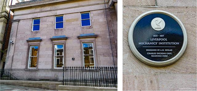 Placa registra a colaboração do escritor Charles Dickens com o Liverpool Institute