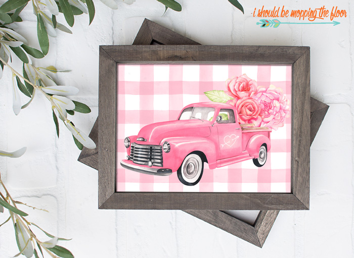 Four Watercolor Valentine Truck Printables with a Fun Vintage Vibe