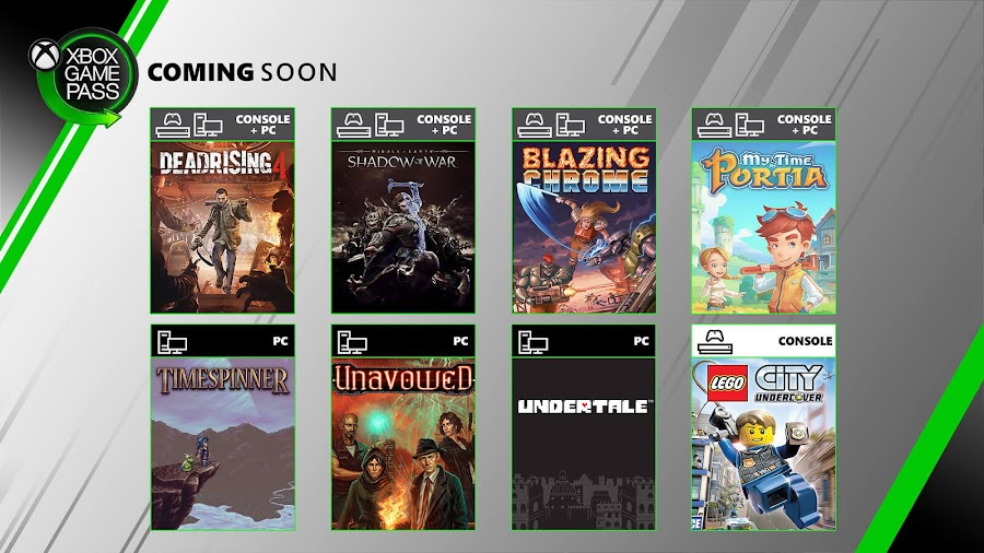 xbox game pass blazing chrome dead rising 4 lego city undercover middle earth shadow of war xb1 2019