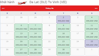 Giá vé máy bay đi Vinh hãng Vietjet Air