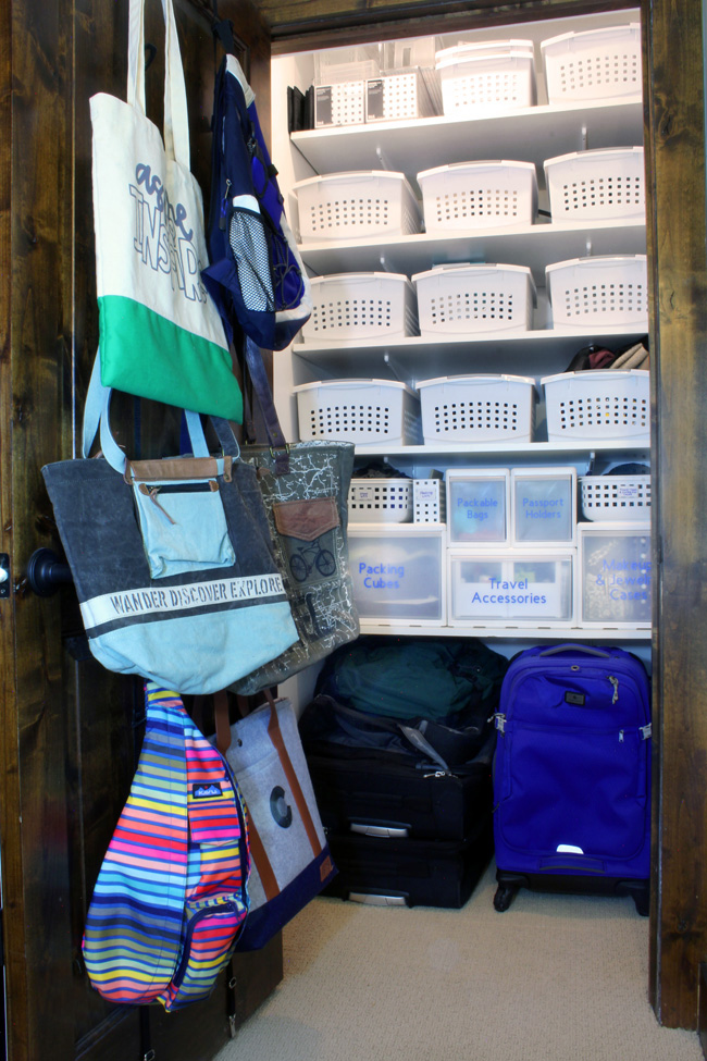store luggage at home, store backpacks and travel bags, organize travel gear