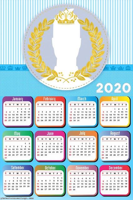 Light Blue Crown: Free Printable 2020 Calendar.