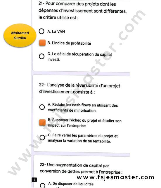 Correction du Concours Master Finance Islamique 2020-2021 - Fsjes Agdal