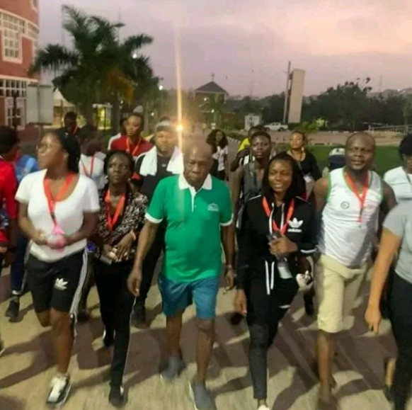 See photos as Obasonjo engages in early morning excercise