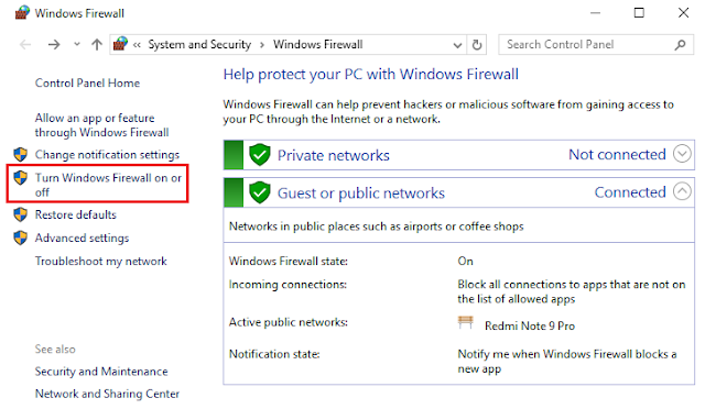 Buka Turn Windows Firewall on or off