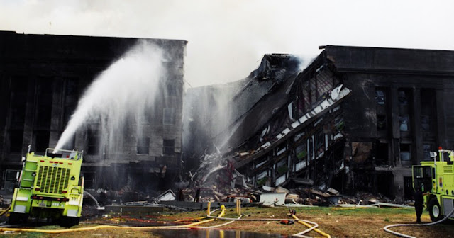 Wreckage at the Pentagon after 9/11