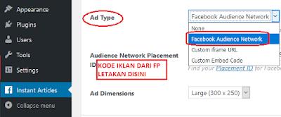 Cara menempatkan kode iklan instant artikel di plugin wp template