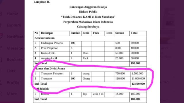 Beredar Proposal Rp16,9 Juta 'PMII Surabaya' untuk Tolak Deklarasi KAMI Jatim