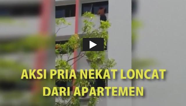 Video Aksi Nekat Pria Melompat dari Gedung Apartemen