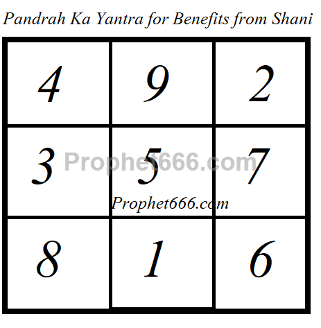 15 Ka Yantra for Benefits from Shani
