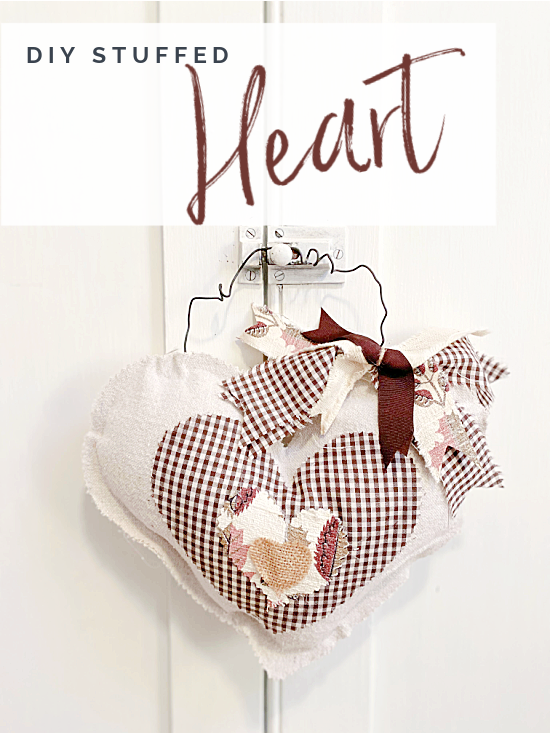 Pinterest pin with stuffed heart and overlay