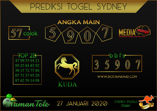 Prediksi Togel SYDNEY TAMAN TOTO 27 JANUARI 2020