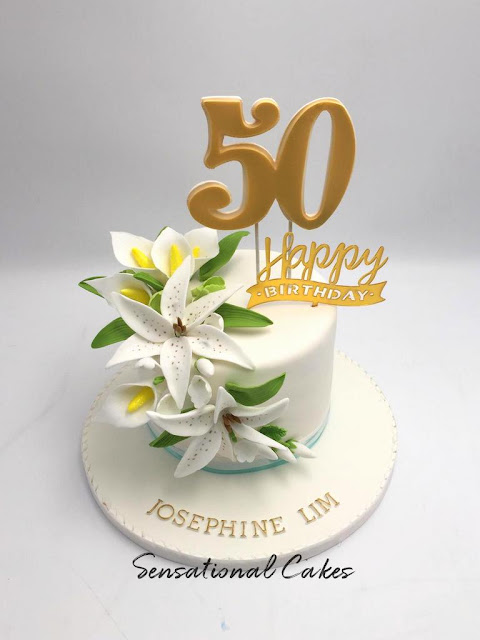 Amazing The Sensational Cakes 50Th Birthday Cake In Lovely Flora Lily Funny Birthday Cards Online Alyptdamsfinfo