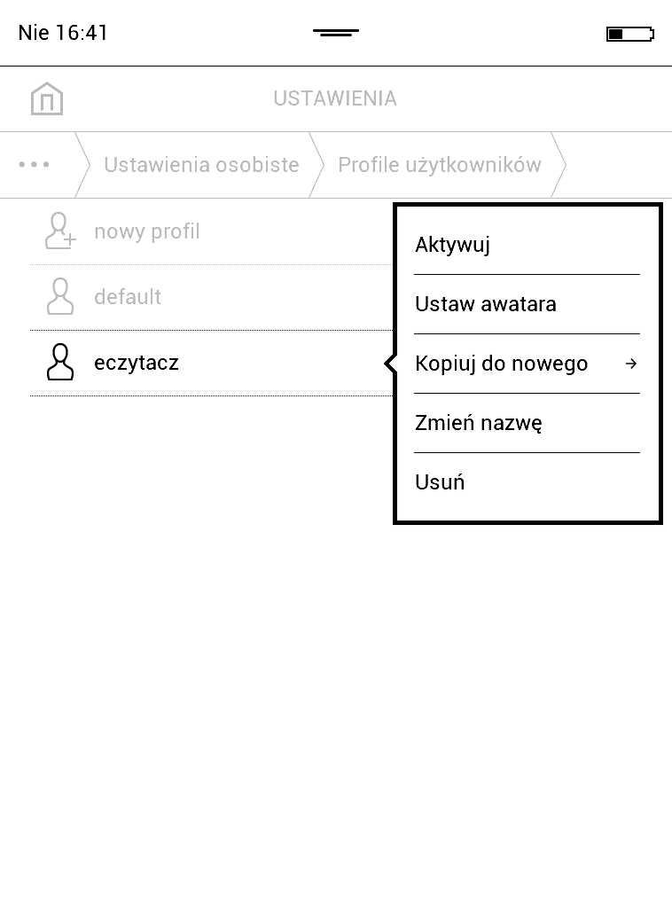 PocketBook Aqua 2 – aktywowanie profilu użytkownika