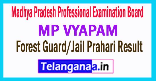 MP VYAPAM Forest Guard/Jail Prahari Result 2018