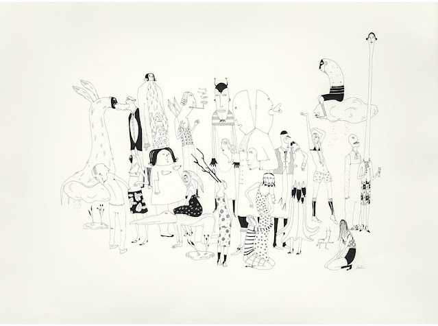 Ilustración mascarade realizada por la artista suiza Albertine