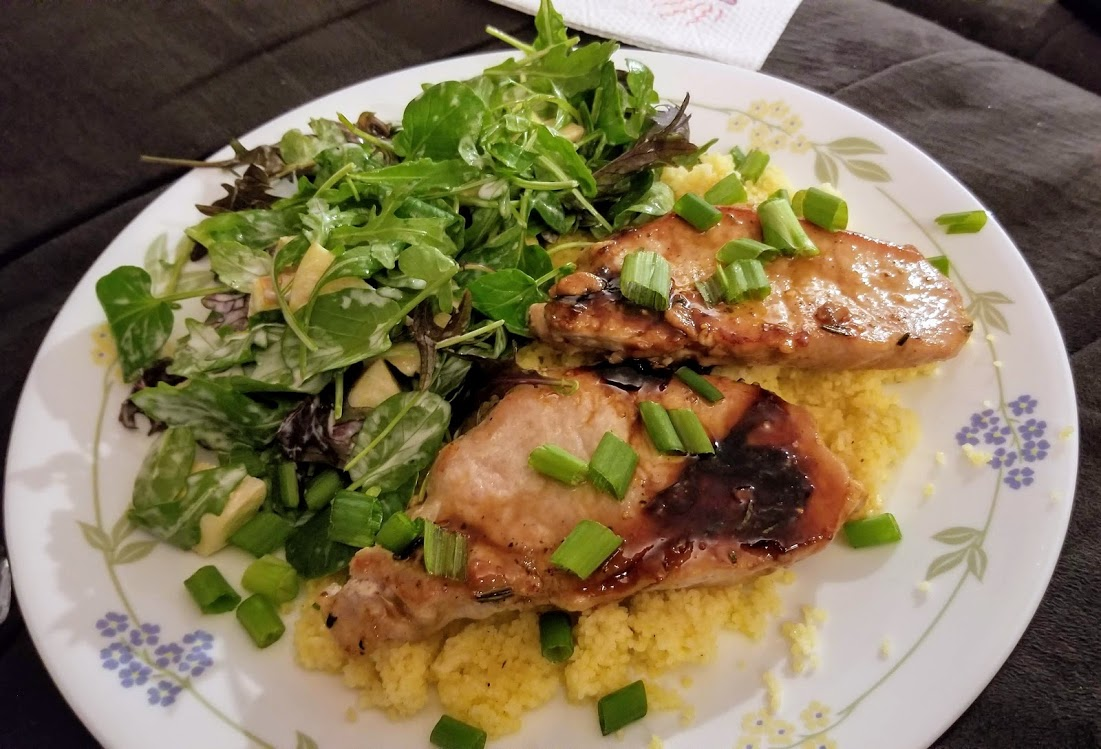 Hello Fresh pork chops and couscous, with side salad