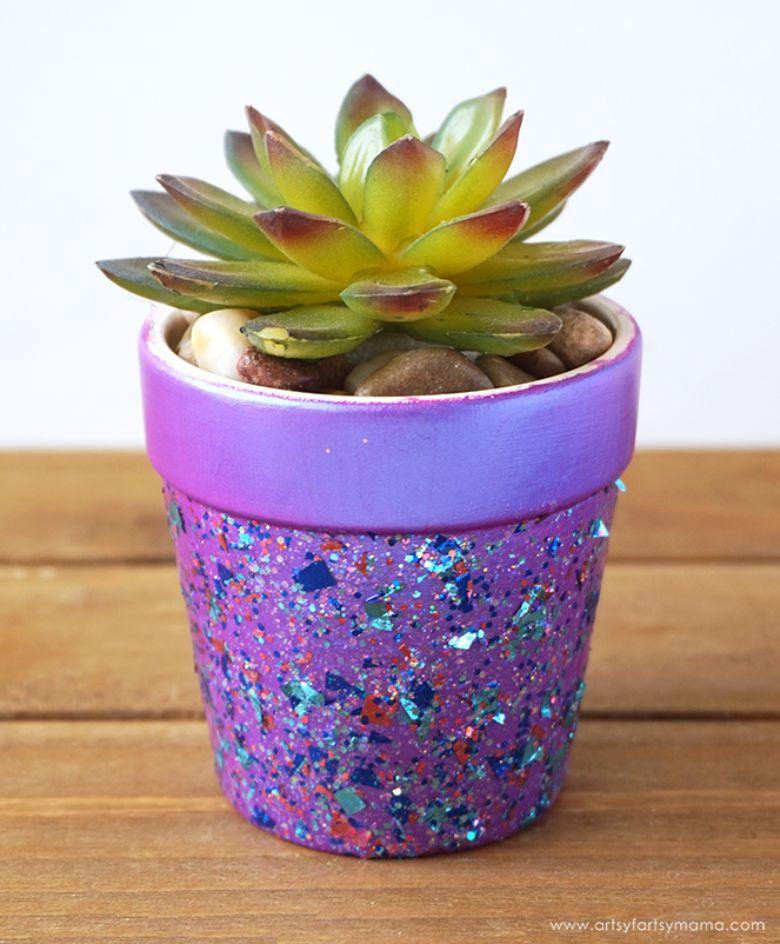 glitter flower pot painting ideas