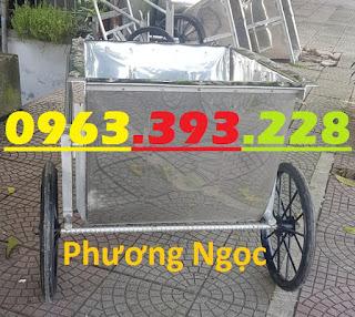 Xe gom rác inox, xe gom rác đẩy tay, thùng rác inox 3 bánh xe, xe thu gom rác thải