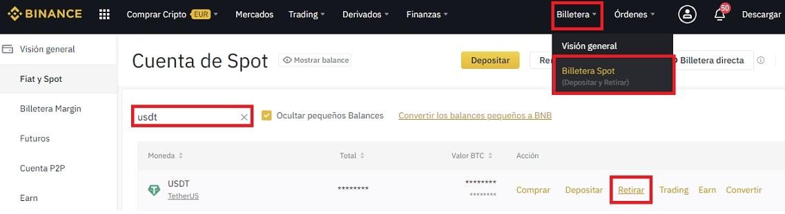 Retirar Bitcoin y USDT de Binance Comprar CREDITS (CS)