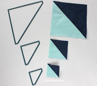 navy blue and aqua half square triangles