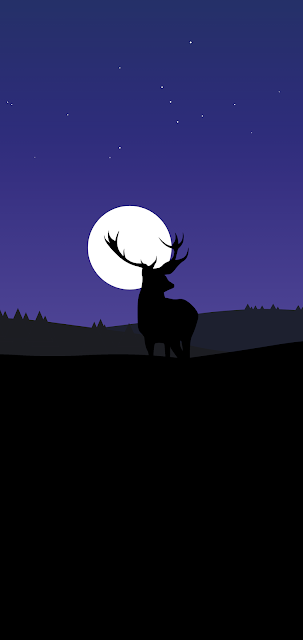 deer night silhuete minimalist wallpaper for phone