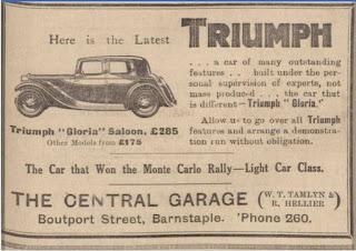 Central Garage - Barnstable North Devon Journal, 28 March 1934. Triumph Gloria