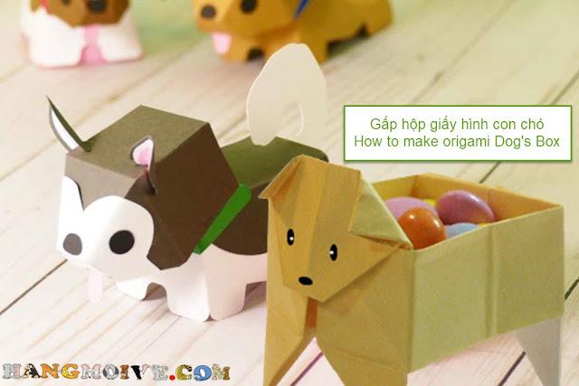 Cách gấp, xếp hộp giấy origami hình con chó - How to make a Dog's Box