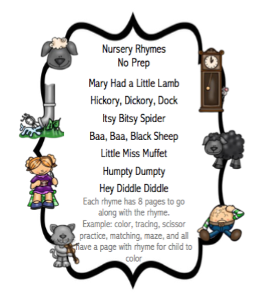 Nursery Rhymes No Prep Preschool Printables