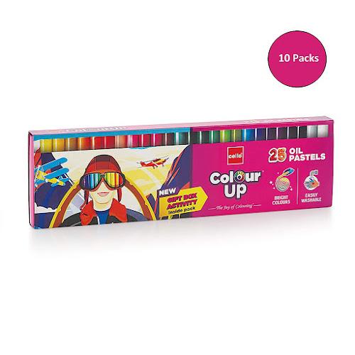 Cello Pens ColourUp Oil Pastels - 10 Packs (25 Shades Each) - Return Gift Box