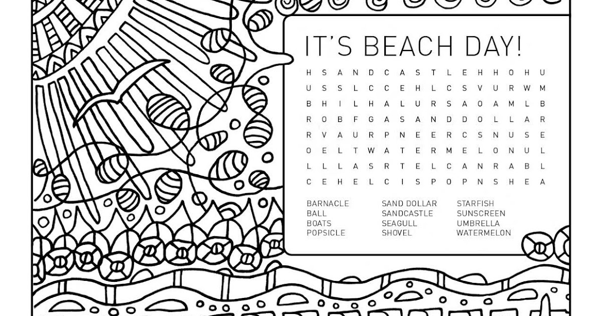 weelife: Word Search Colouring Page: It's Beach Day!