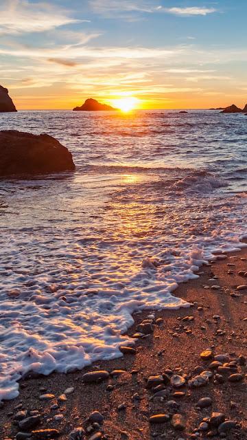 Wallpaper of sand, beach, sea, stones, rocks, sunset