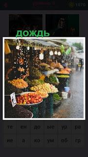 655 слов идет дождь на фоне рынка где торгуют фруктами 8 уровень